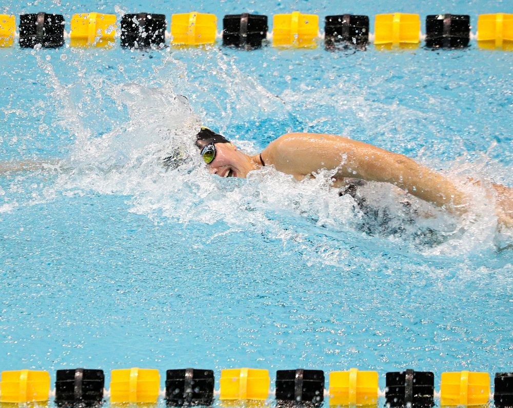 Iowa's Hannah Burvill swims the women's 100-yard freestyle event during their meet against Michigan State and Northern Iowa at the Campus Recreation and Wellness Center in Iowa City on Friday, Oct 4, 2019. (Stephen Mally/hawkeyesports.com)