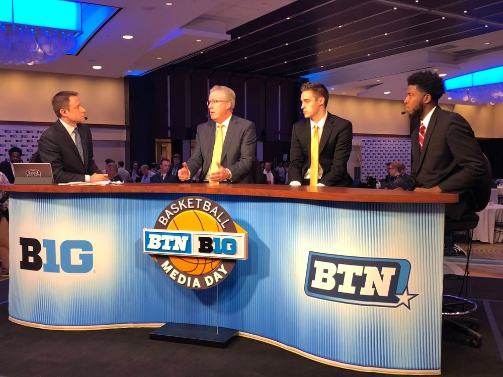Dave Revsine, Fran McCaffery, Nicholas Baer, Isaiah Moss Big Ten Men's Basketball Media Day