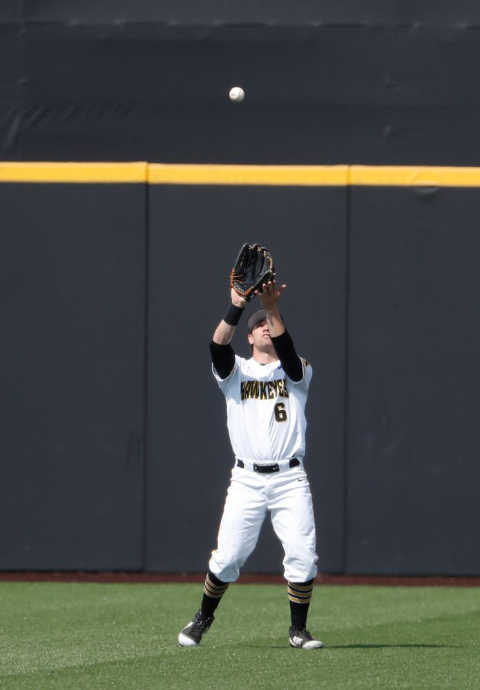 Iowa Hawkeyes outfielder Justin Jenkins (6) against the Missouri Tigers Tuesday, May 1, 2018 at Duane Banks Field. (Brian Ray/hawkeyesports.com)
