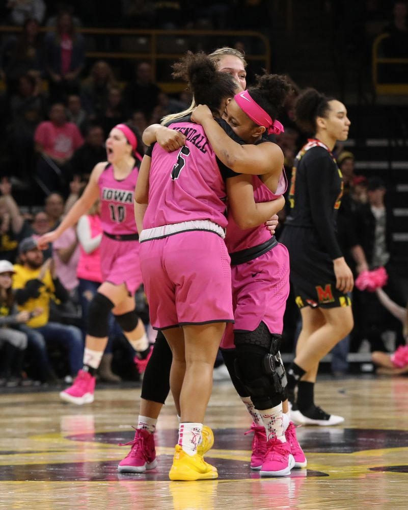 Iowa Hawkeyes guard Tania Davis (11) and guard Alexis Sevillian (5) against the seventh ranked Maryland Terrapins Sunday, February 17, 2019 at Carver-Hawkeye Arena. (Brian Ray/hawkeyesports.com)