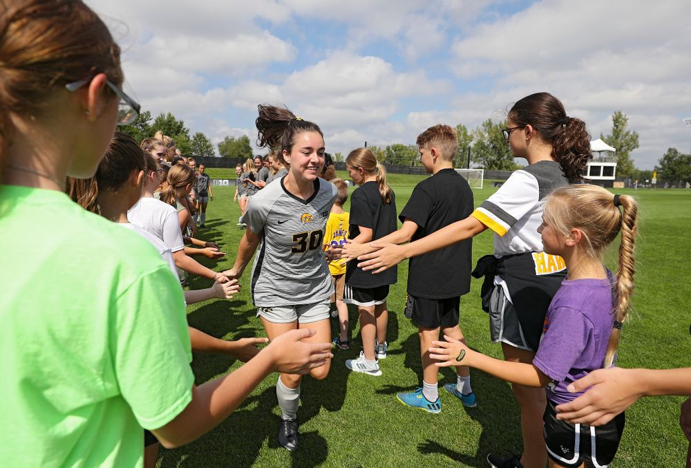 Iowa forward Devin Burns (30) takes the field for their match at the Iowa Soccer Complex in Iowa City on Sunday, Sep 1, 2019. (Stephen Mally/hawkeyesports.com)