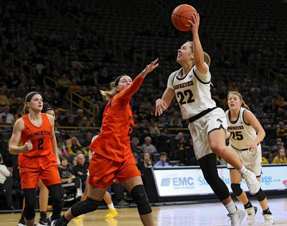 Iowa guard Kathleen Doyle (22) shoots during the third quarter of their overtime win against Princeton at Carver-Hawkeye Arena in Iowa City on Wednesday, Nov 20, 2019. (Stephen Mally/hawkeyesports.com)