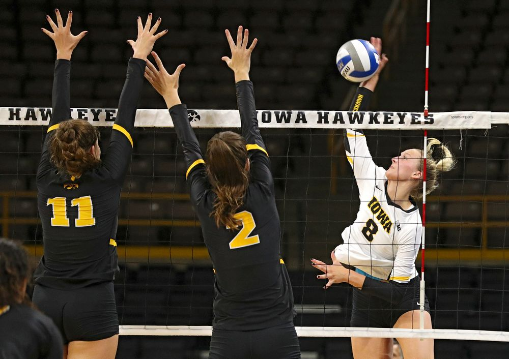 Iowa's Kyndra Hansen (8) during the first set of the Black and Gold scrimmage at Carver-Hawkeye Arena in Iowa City on Saturday, Aug 24, 2019. (Stephen Mally/hawkeyesports.com)