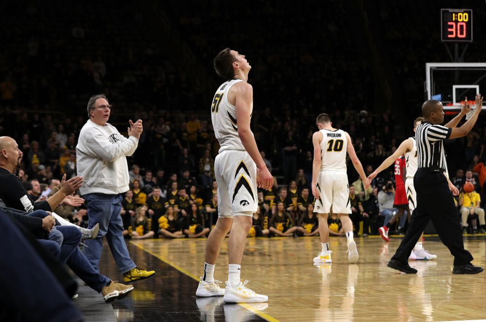 Iowa Hawkeyes forward Nicholas Baer (51) takes it all in after fouling out against the Rutgers Scarlet Knights  Saturday, March 2, 2019 at Carver-Hawkeye Arena. (Brian Ray/hawkeyesports.com)