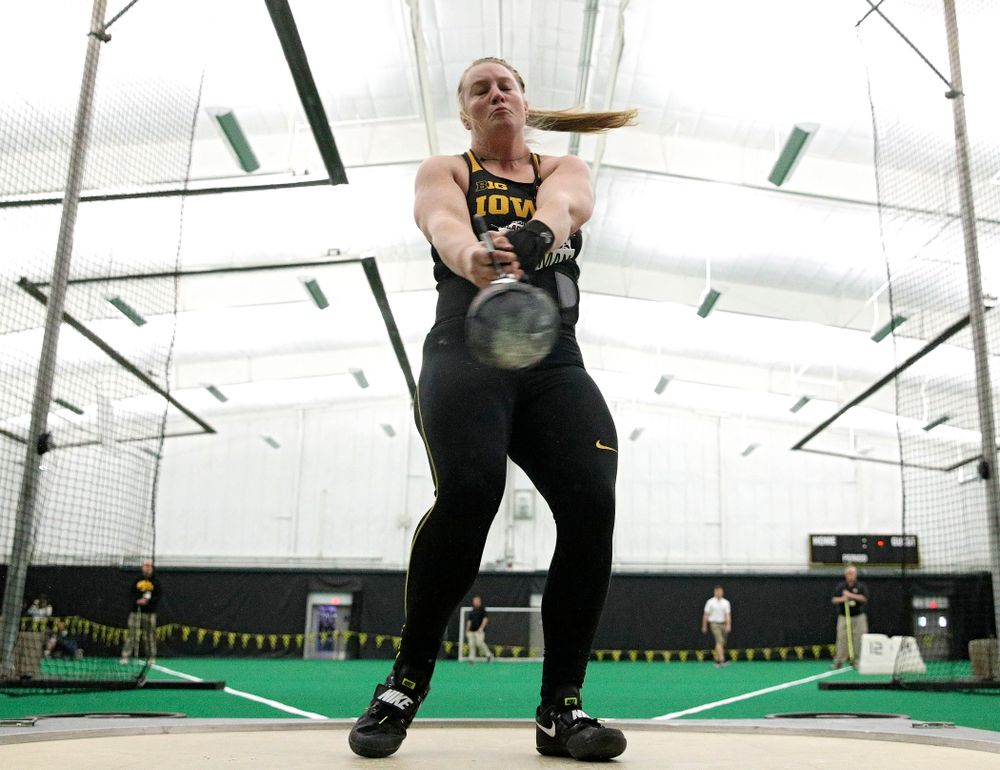 Iowa's Allison Wahrman throws during the women's weight throw event at the Hawkeye Tennis and Recreation Complex in Iowa City on Friday, January 31, 2020. (Stephen Mally/hawkeyesports.com)
