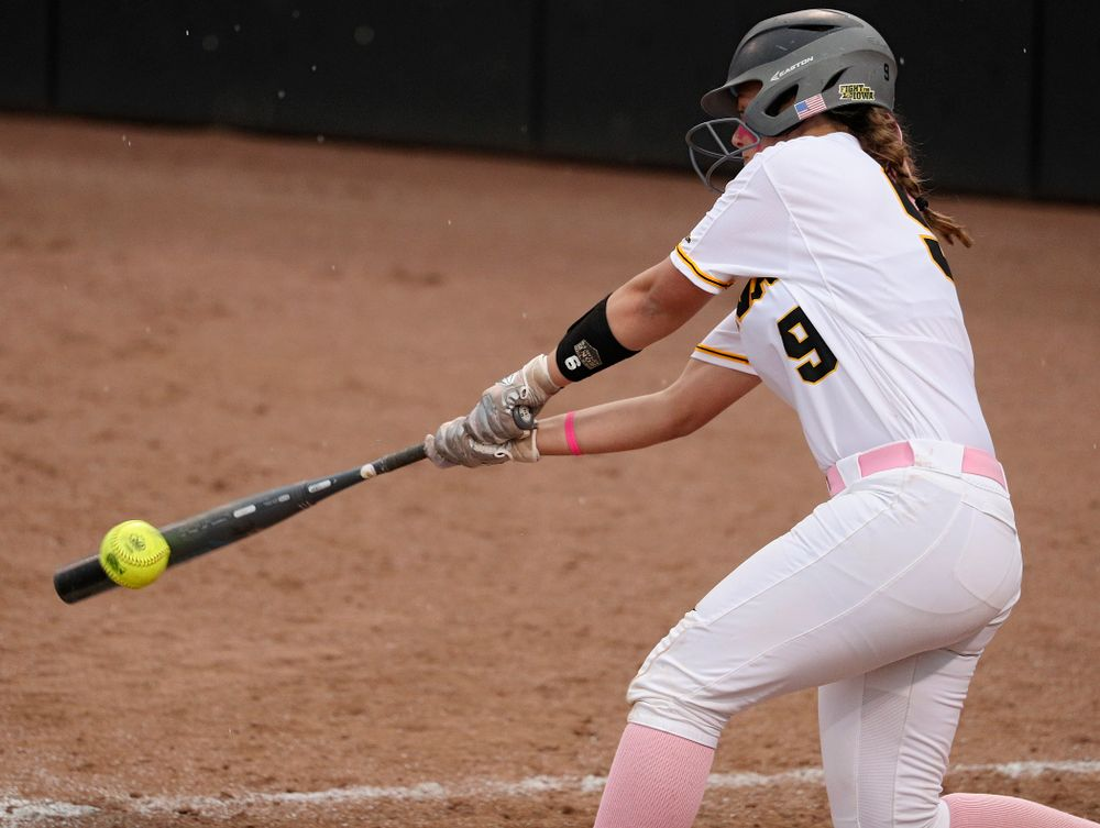 Iowa catcher Abby Lien (9) bats during the third inning of their game against Iowa State at Pearl Field in Iowa City on Tuesday, Apr. 9, 2019. (Stephen Mally/hawkeyesports.com)