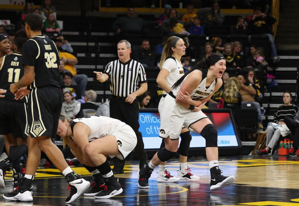 Iowa Hawkeyes forward Megan Gustafson (10) reacts after being called for a foul against the Purdue Boilermakers Sunday, January 27, 2019 at Carver-Hawkeye Arena. (Brian Ray/hawkeyesports.com)