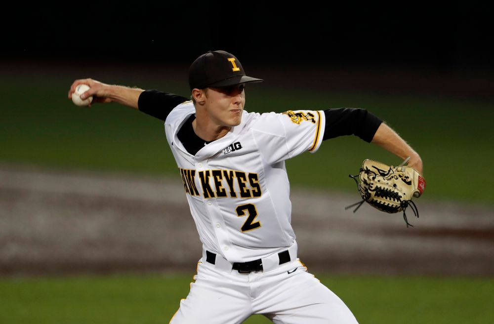 Iowa Hawkeyes pitcher Zach Daniels (2) against the Penn State Nittany Lions  Thursday, May 17, 2018 at Duane Banks Field. (Brian Ray/hawkeyesports.com)