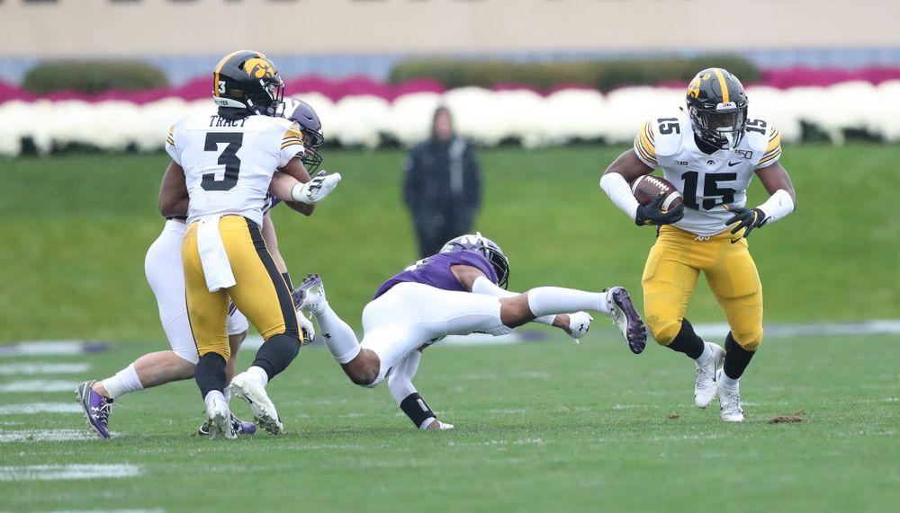 Iowa Hawkeyes running back Tyler Goodson (15) against the Northwestern Wildcats Saturday, September 28, 2019 at Kinnick Stadium. (Max Allen/hawkeyesports.com)