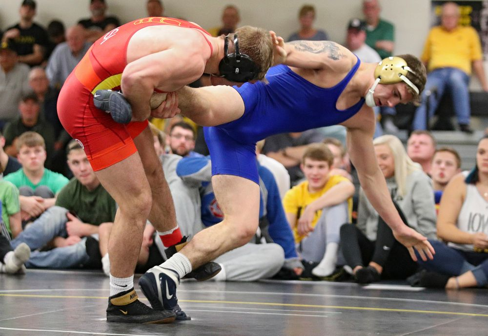 Iowa's Cash Wilcke (from left) controls the leg of Abe Assad during their preseason match at the Dan Gable Wrestling Complex at Carver-Hawkeye Arena in Iowa City on Friday, Nov 8, 2019. (Stephen Mally/hawkeyesports.com)