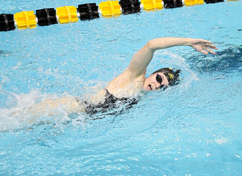 Iowa's Alley Thomas swims the women's 1000-yard freestyle event during their meet against Michigan State and Northern Iowa at the Campus Recreation and Wellness Center in Iowa City on Friday, Oct 4, 2019. (Stephen Mally/hawkeyesports.com)