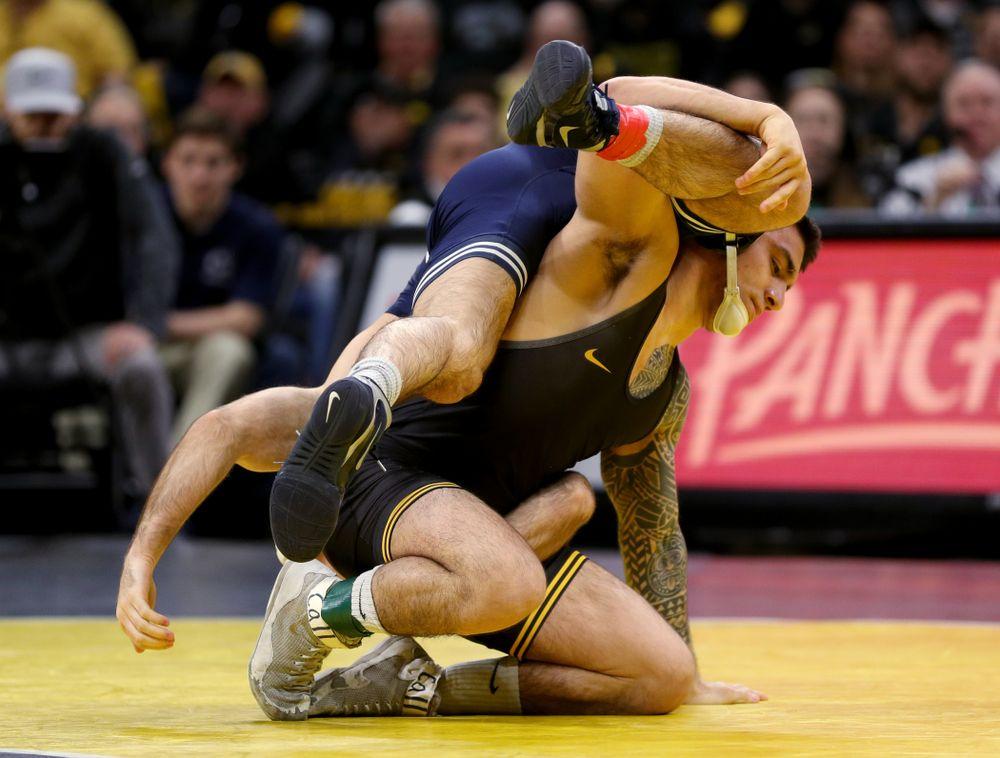 Iowa's Pat Lugo wrestles Penn State's Jarod Verkleeren at 149 pounds Friday, January 31, 2020 at Carver-Hawkeye Arena. Lugo defeated Verkleeren 6-1. (Brian Ray/hawkeyesports.com)