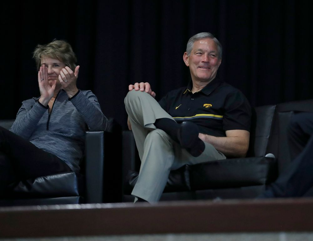 Lisa Bluder, Kirk Ferentz -- Hawkeye Fan Event at the Quad-Cities Waterfront Convention Center in Bettendorf, Iowa, on May 15, 2019.