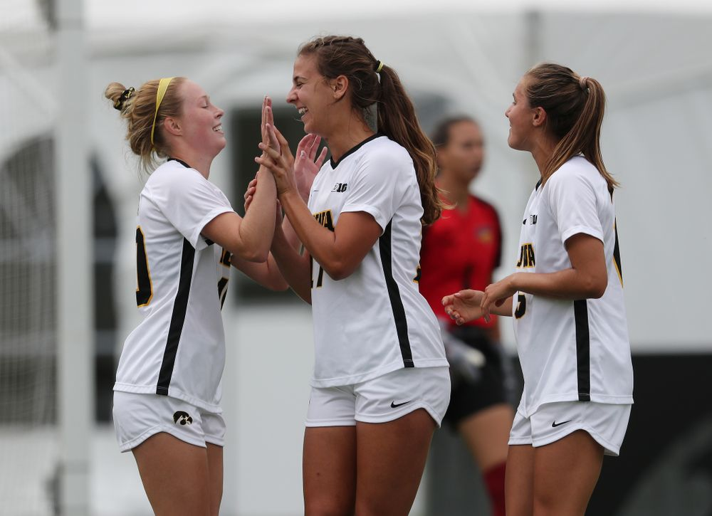 Iowa Hawkeyes defender Hannah Drkulec (17) celebrates after scoring during a 6-1 win over Northern Iowa Sunday, August 25, 2019 at the Iowa Soccer Complex. (Brian Ray/hawkeyesports.com)