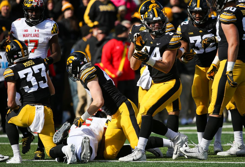 Iowa Hawkeyes linebacker Kristian Welch (34) reacts after making a tackle during a game against Maryland at Kinnick Stadium on October 20, 2018. (Tork Mason/hawkeyesports.com)
