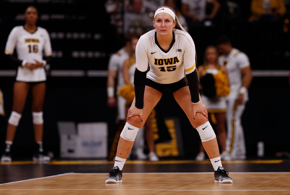 Iowa Hawkeyes defensive specialist Maddie Slagle (15) against the Michigan State Spartans Friday, September 21, 2018 at Carver-Hawkeye Arena. (Brian Ray/hawkeyesports.com)