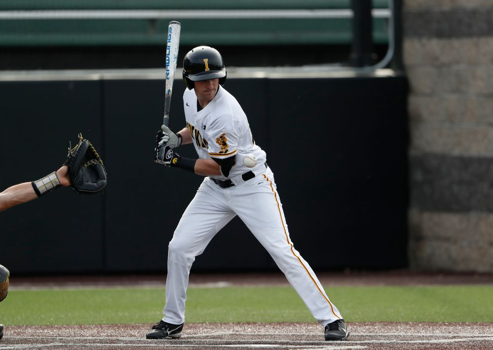 Iowa Hawkeyes infielder Chris Whelan (28) gets hit by a pitch against the Missouri Tigers Tuesday, May 1, 2018 at Duane Banks Field. (Brian Ray/hawkeyesports.com)