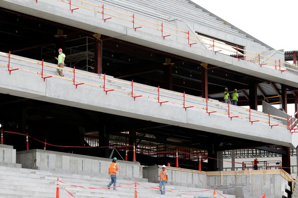 Work continues in the northeast corner  Wednesday, June 6, 2018 at Kinnick Stadium. (Brian Ray/hawkeyesports.com)