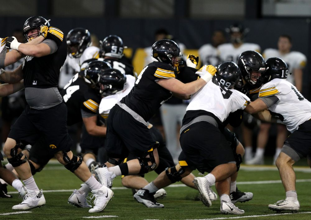 Iowa Hawkeyes defensive lineman Austin Schulte (74) during practice Wednesday, December 12, 2018 at the Hansen Football Performance Center in preparation for the Outback Bowl game against Mississippi State. (Brian Ray/hawkeyesports.com)