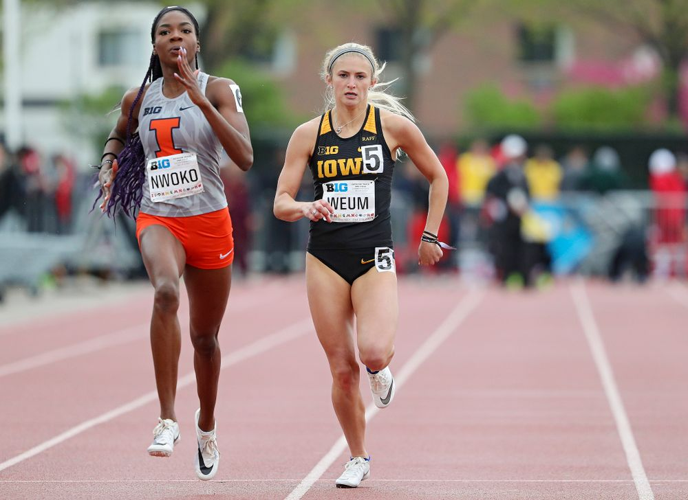 Iowa's Aly Weum runs the women's 400 meter dash event on the second day of the Big Ten Outdoor Track and Field Championships at Francis X. Cretzmeyer Track in Iowa City on Saturday, May. 11, 2019. (Stephen Mally/hawkeyesports.com)