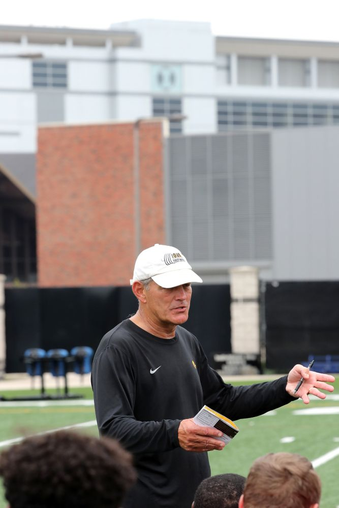 Iowa Hawkeyes head coach Kirk Ferentz during the third practice of fall camp Sunday, August 5, 2018 at the Kenyon Football Practice Facility. (Brian Ray/hawkeyesports.com)
