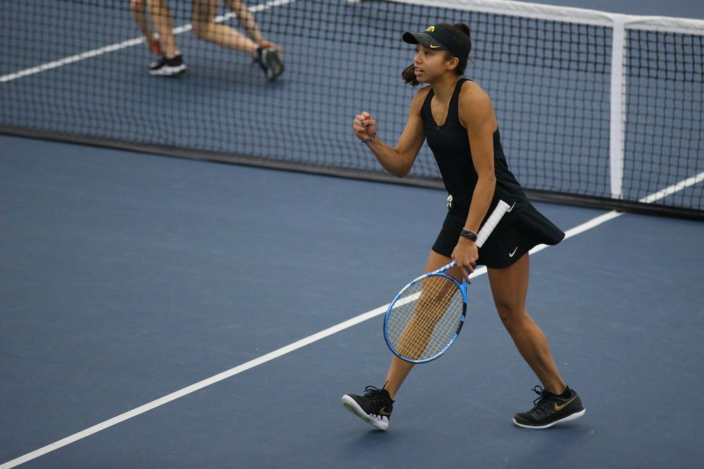 Iowa's Michelle Bacalla celebrates a point during the Iowa women's tennis meet vs UNI  on Saturday, February 29, 2020 at the Hawkeye Tennis and Recreation Complex. (Lily Smith/hawkeyesports.com)