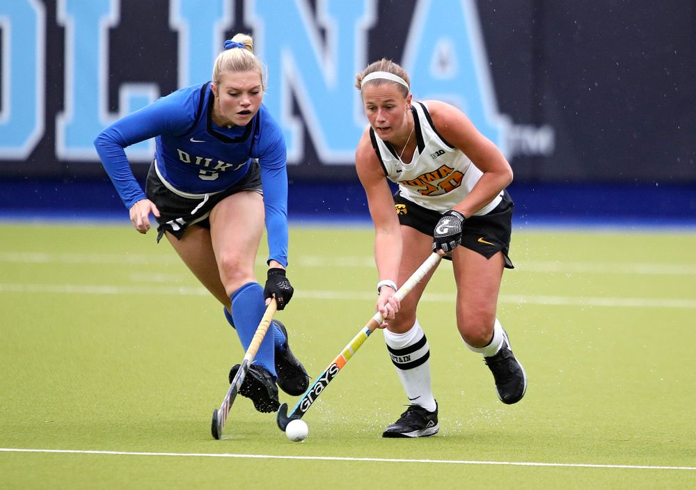 Iowa's Sophie Sunderland (20) moves with the ball during the first quarter of their NCAA Tournament First Round match against Duke at Karen Shelton Stadium in Chapel Hill, N.C. on Friday, Nov 15, 2019. (Stephen Mally/hawkeyesports.com)