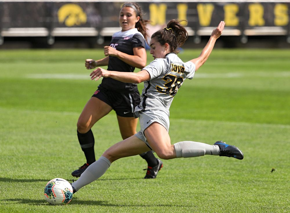 Iowa forward Devin Burns (30) lines up a shot during the first half of their match at the Iowa Soccer Complex in Iowa City on Sunday, Sep 1, 2019. (Stephen Mally/hawkeyesports.com)