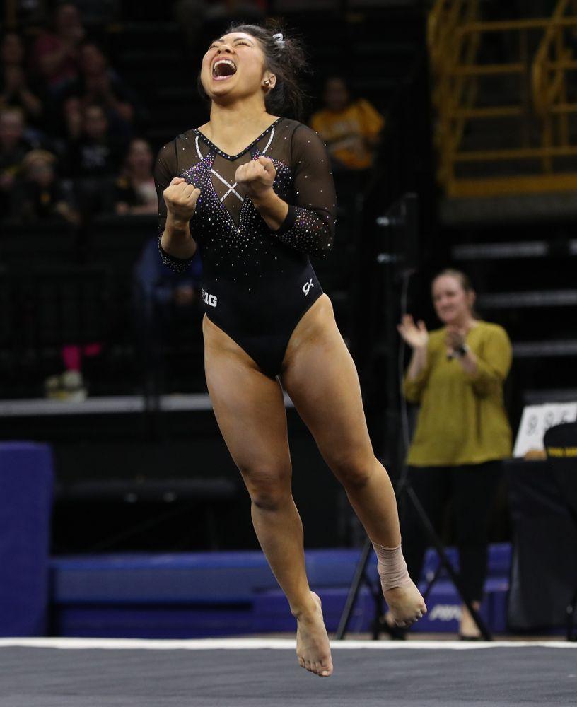 Iowa's Clair Kaji competes on the floor against Illinois Saturday, February 16, 2019 at Carver-Hawkeye Arena. (Brian Ray/hawkeyesports.com)