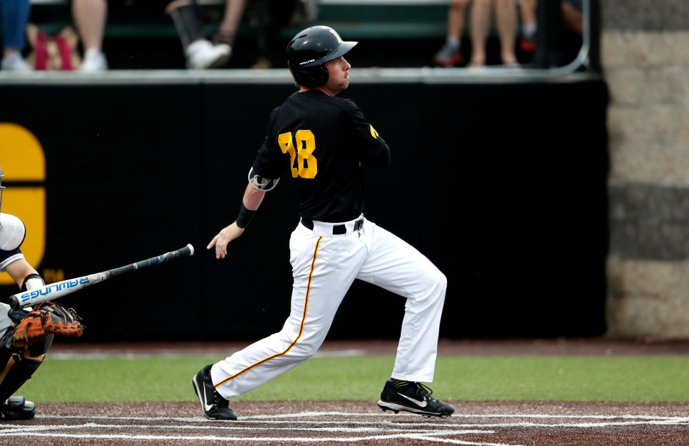 Iowa Hawkeyes infielder Chris Whelan (28)  against the Penn State Nittany Lions Friday, May 18, 2018 at Duane Banks Field. (Brian Ray/hawkeyesports.com)