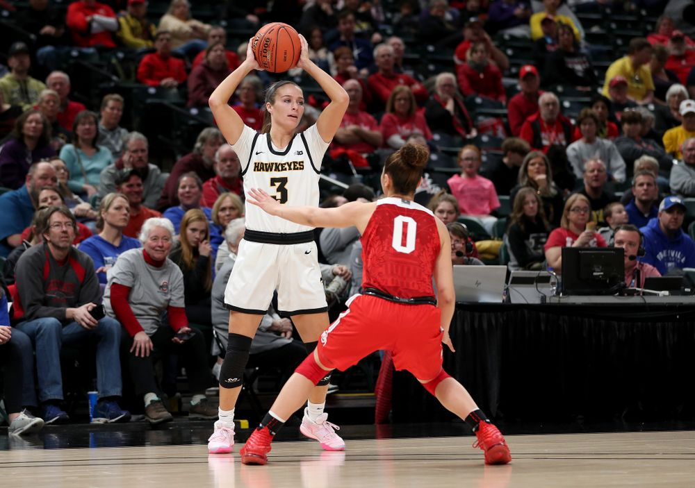 Iowa Hawkeyes guard Makenzie Meyer (3) against Ohio State in the quarterfinals of the Big Ten Basketball Tournament Friday, March 6, 2020 at Bankers Life Fieldhouse in Indianapolis. (Brian Ray/hawkeyesports.com)