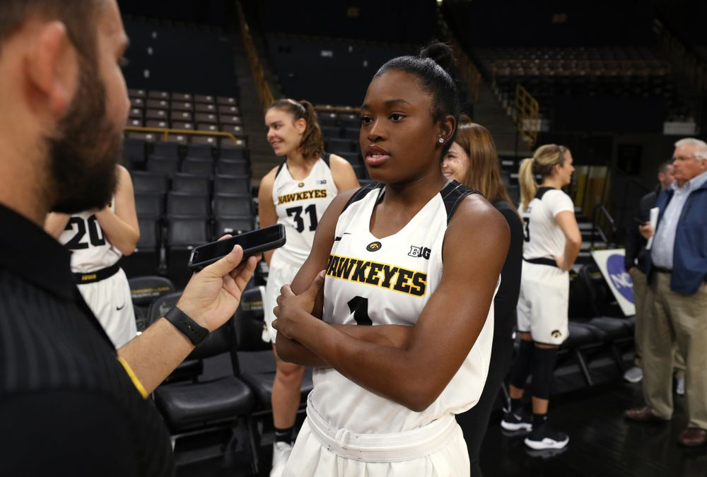 Iowa Hawkeyes guard Tomi Taiwo (1) during the team's annual media day Wednesday, October 31, 2018 at Carver-Hawkeye Arena. (Brian Ray/hawkeyesports.com)