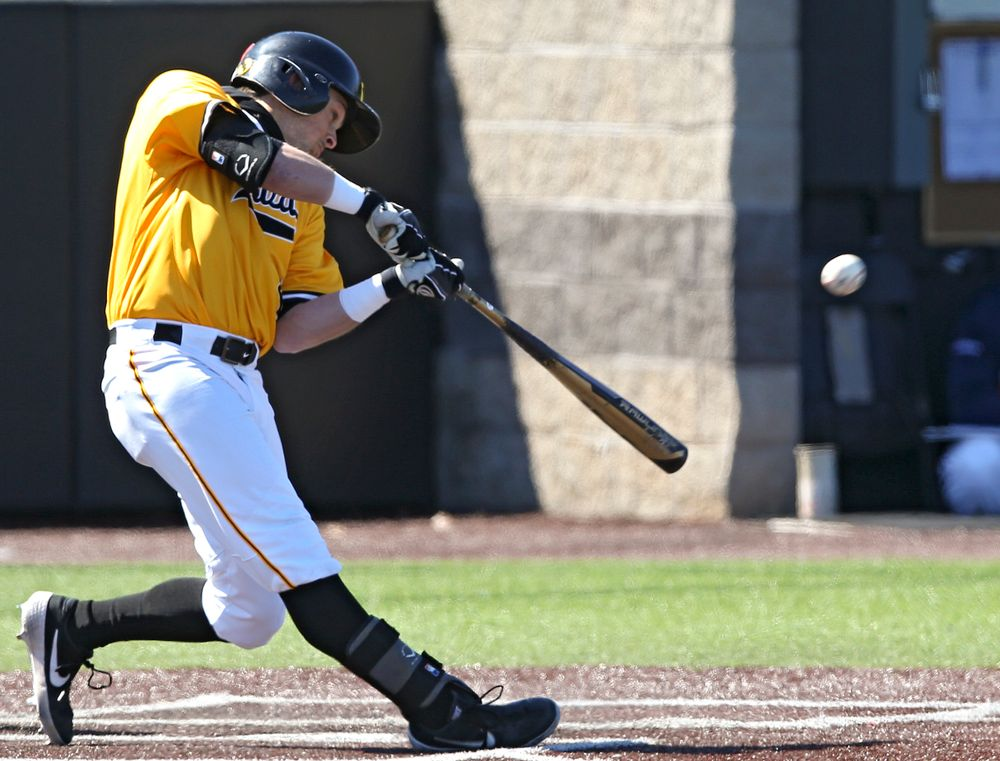 Iowa Hawkeyes second baseman Mitchell Boe (4) bats during the fourth inning against Illinois at Duane Banks Field in Iowa City on Sunday, Mar. 31, 2019. (Stephen Mally/hawkeyesports.com)