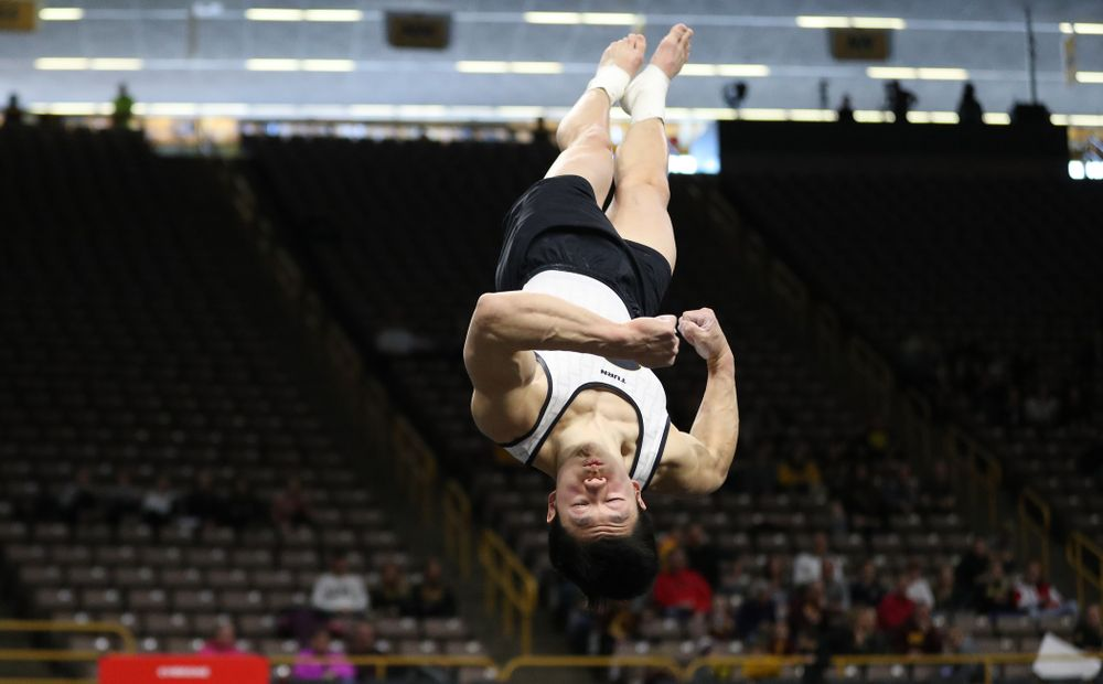 Iowa's Bennet Huang competes on the pommel horse against UIC and Minnesota Saturday, February 2, 2019 at Carver-Hawkeye Arena. (Brian Ray/hawkeyesports.com)