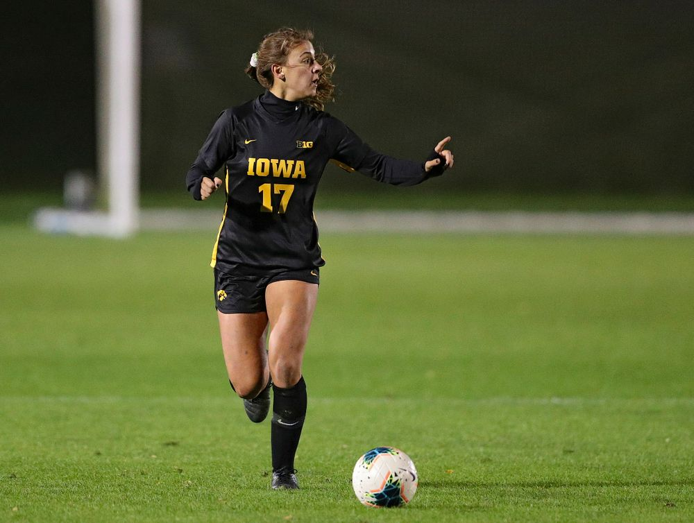 Iowa defender Hannah Drkulec (17) looks to pass during the first half of their match at the Iowa Soccer Complex in Iowa City on Friday, Oct 11, 2019. (Stephen Mally/hawkeyesports.com)