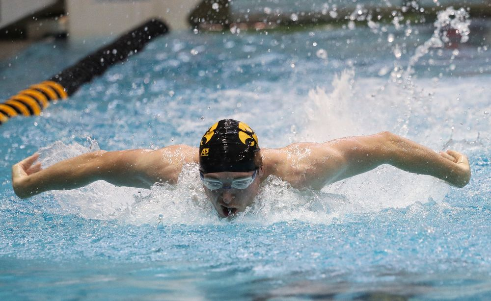 Iowa's Caleb Babb competes in the 100-yard butterfly during a meet against Michigan and Denver at the Campus Recreation and Wellness Center on November 3, 2018. (Tork Mason/hawkeyesports.com)