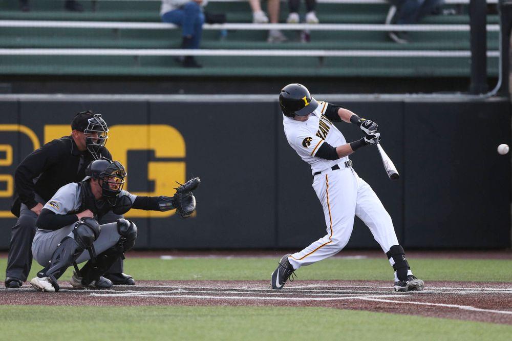 Iowa infielder Tanner Wetrich Iowa infielder Chris Whelan  at baseball vs Milwaukee on Tuesday, April 23, 2019 at Duane Banks Field. (Lily Smith/hawkeyesports.com)