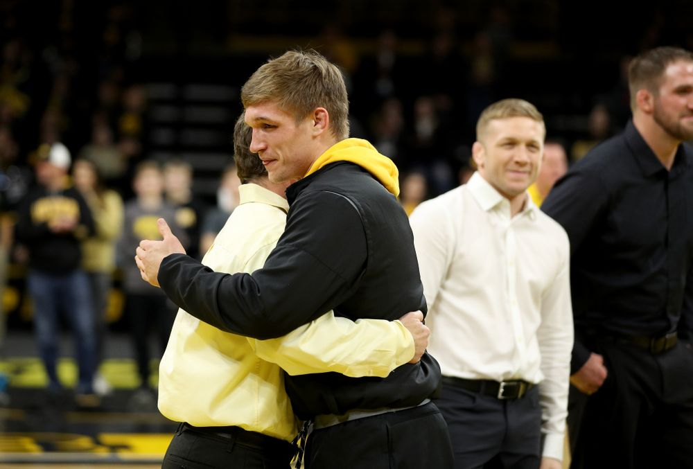 Iowa's Cash Wilcke during senior day activities Sunday, February 23, 2020 at Carver-Hawkeye Arena. (Brian Ray/hawkeyesports.com)