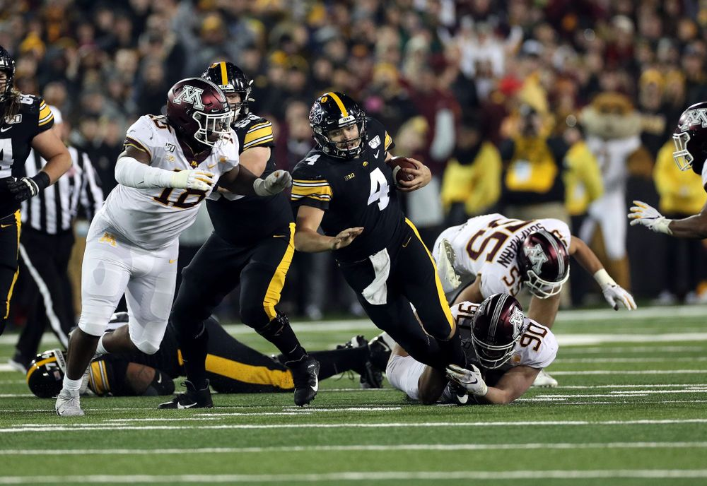 Iowa Hawkeyes quarterback Nate Stanley (4) Against the Minnesota Golden Gophers Saturday, November 16, 2019 at Kinnick Stadium. (Brian Ray/hawkeyesports.com)