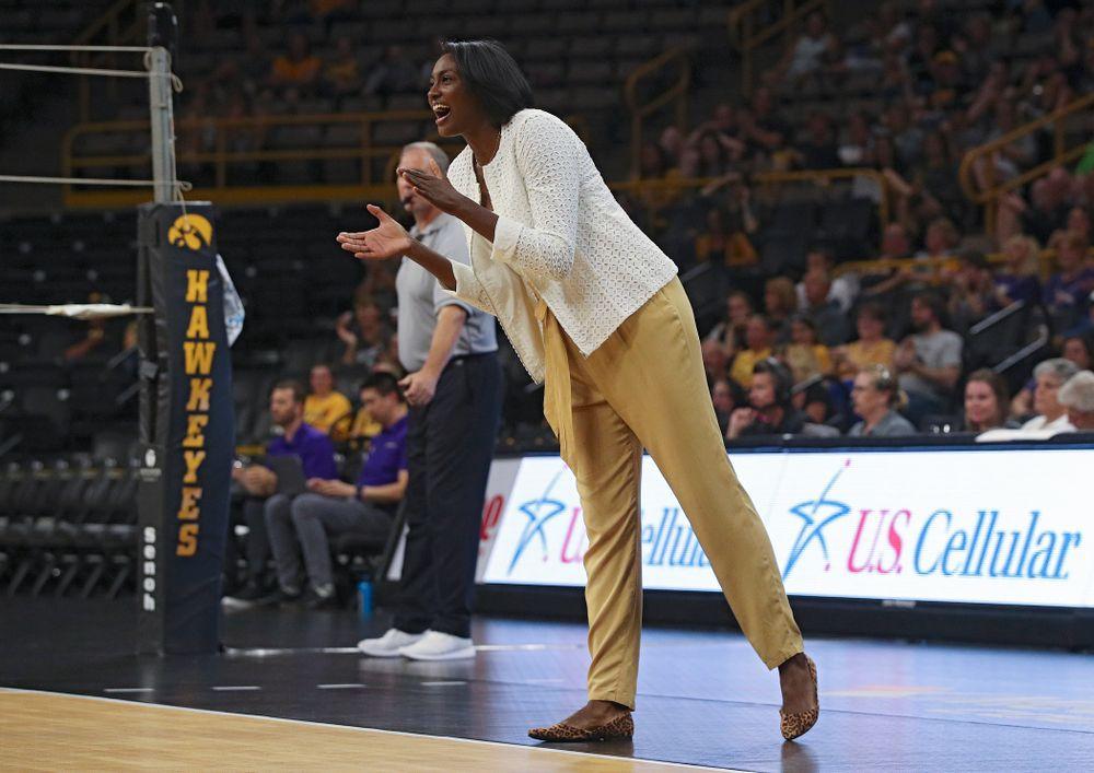 Iowa interim head coach Vicki Brown urges on her team during their Big Ten/Pac-12 Challenge match at Carver-Hawkeye Arena in Iowa City on Saturday, Sep 7, 2019. (Stephen Mally/hawkeyesports.com)