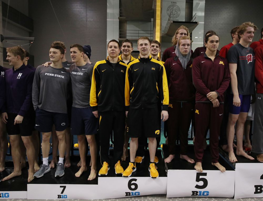 Iowa's Aleksey Tarasenko, Mateusz Arndt, Jackson Allmon, and Michael Tenney place sixth in the 800 freestyle relay at the 2019 Big Ten Swimming and Diving meet  Wednesday, February 27, 2019 at the Campus Wellness and Recreation Center. (Brian Ray/hawkeyesports.com)