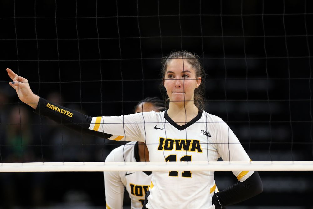 Iowa Hawkeyes middle blocker Blythe Rients (11) against Penn State Friday, November 1, 2019 at Carver Hawkeye Arena. (Brian Ray/hawkeyesports.com)