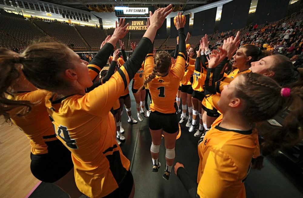 Iowa's Joslyn Boyer (1) is introduced before their match at Carver-Hawkeye Arena in Iowa City on Sunday, Oct 20, 2019. (Stephen Mally/hawkeyesports.com)