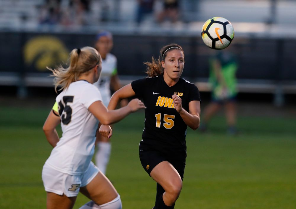 Iowa Hawkeyes Rose Ripslinger (15) against the Purdue Boilermakers Thursday, September 20, 2018 at the Iowa Soccer Complex. (Brian Ray/hawkeyesports.com)