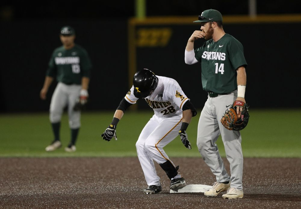 Iowa Hawkeyes Chris Whelan (28) doubles against the Michigan State Spartans Friday, May 10, 2019 at Duane Banks Field. (Brian Ray/hawkeyesports.com)