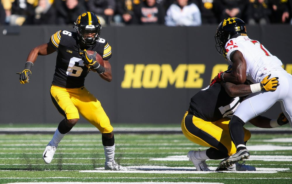 Iowa Hawkeyes wide receiver Ihmir Smith-Marsette (6) during a game against Maryland at Kinnick Stadium on October 20, 2018. (Tork Mason/hawkeyesports.com)