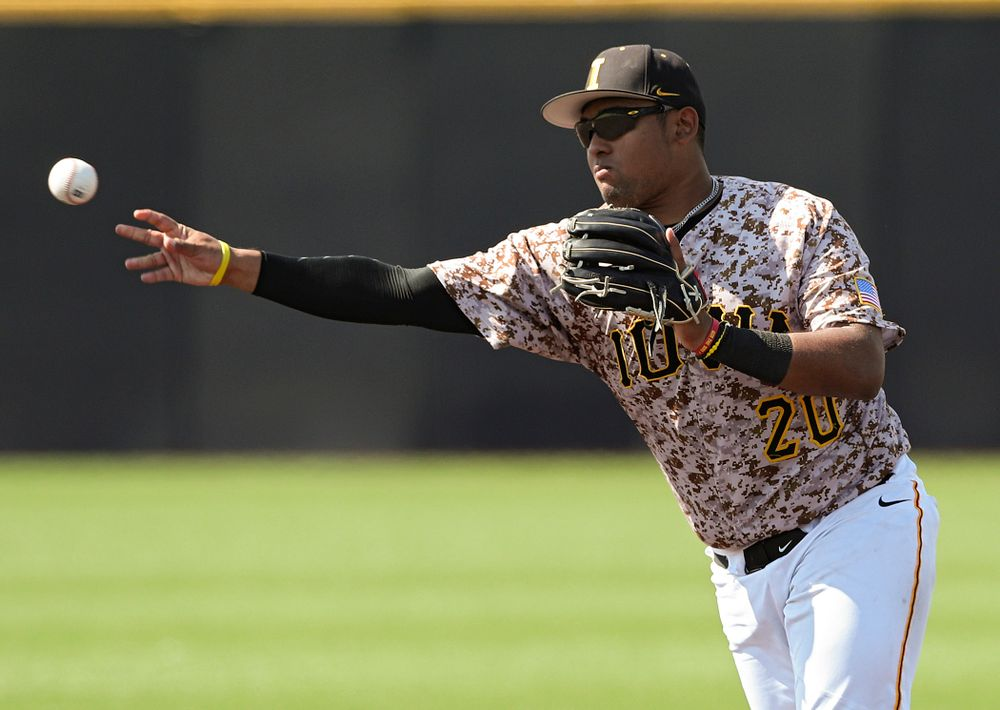 Iowa Hawkeyes second baseman Izaya Fullard (20) throws to first for an out during the sixth inning of their game against UC Irvine at Duane Banks Field in Iowa City on Sunday, May. 5, 2019. (Stephen Mally/hawkeyesports.com)