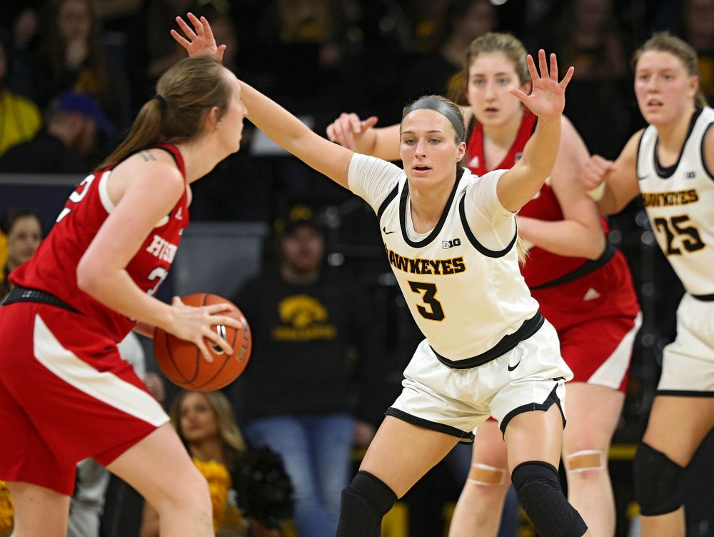 Iowa Hawkeyes guard Makenzie Meyer (3) defends during the third quarter of the game at Carver-Hawkeye Arena in Iowa City on Thursday, February 6, 2020. (Stephen Mally/hawkeyesports.com)