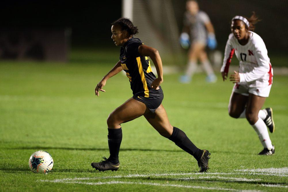 Iowa Hawkeyes midfielder/forward Melina Hegelheimer (26) against the Nebraska Cornhuskers Thursday, October 3, 2019 at the Iowa Soccer Complex. (Brian Ray/hawkeyesports.com)