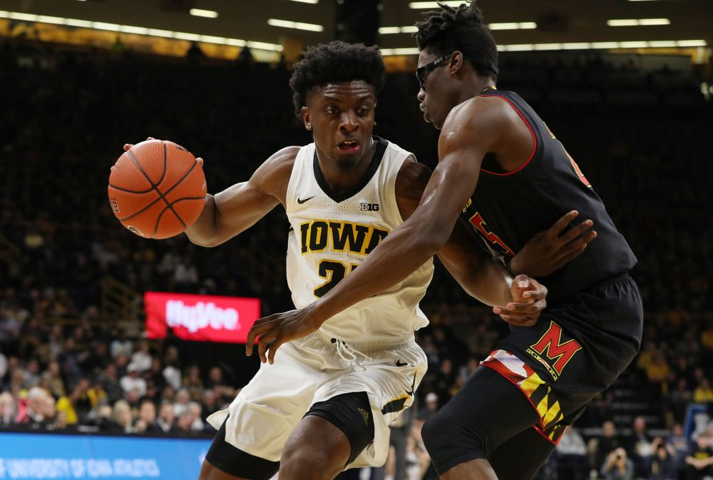 Iowa Hawkeyes forward Tyler Cook (25) against the Maryland Terapins Tuesday, February 19, 2019 at Carver-Hawkeye Arena. (Brian Ray/hawkeyesports.com)